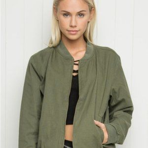 Brandy Melville Green Bomber Jacket